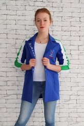 2611 пиджак синий трикотаж с лампасами