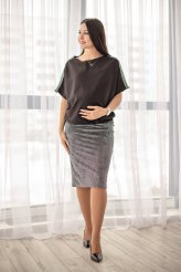 Б2492 юбка бархатная горошек для беременных