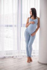 Б2497 штаны домашние для беременных голубые
