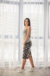 Б2461 юбка милитари серая удлиненная для беременных