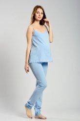 б2330 майка голубая с кружевом клеш