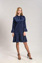 Б2664 платье синий вельвет с воланом для кормления