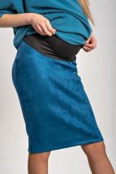 Б2660 юбка синяя замша для беременных