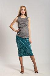 Б2652 юбка бархат-креш бирюзовая для беременных
