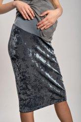 Б2676 юбка бархат-креш серая для беременных